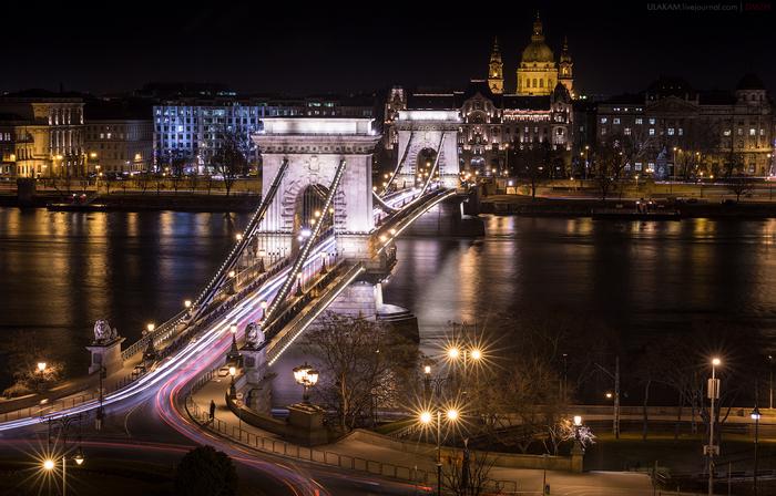 Любитель острых ощущений? Мост, Ночь, Город, Архитектура, Река, Будапешт, Дунай, Слабоумие и отвага