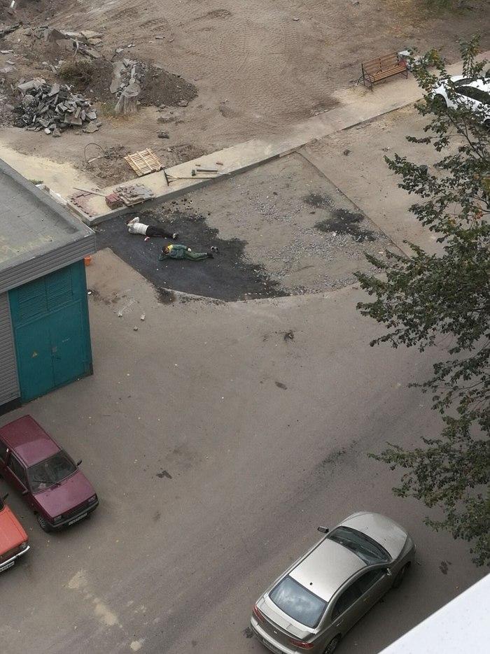 Новый способ укладки асфальта в Белгороде.