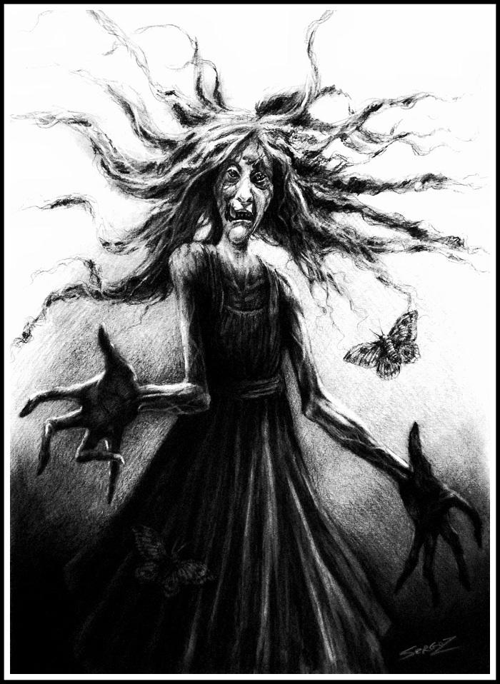 """""""МАМА"""" SergoZ, Моё, Фильмы ужасов, Рисунок, Иллюстрации, Творчество, Уголь, Мама"""