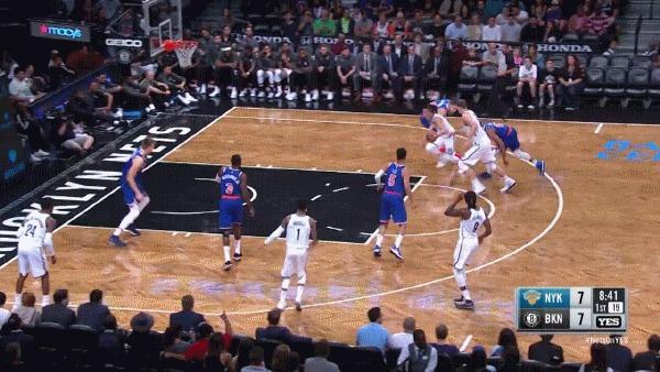 Классная атака Никс Баскетбол, NBA, Аллей-Уп, Данк, Блок-Шот, Гифка