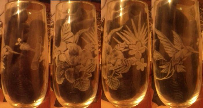 """Ручная гравировка """"Колибри"""".  Фужер для шампанского на ножке, стекло, высота 22 см, объем 175 мл."""