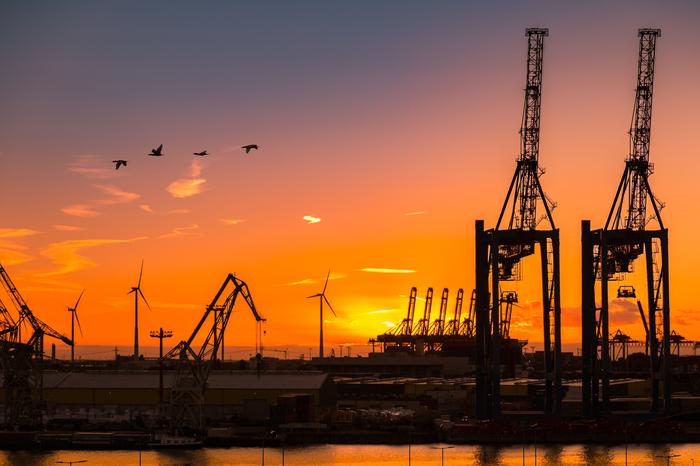 Закат в порту Закат, Небо, Порт, Гамбург, Пейзаж, Начинающий фотограф