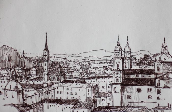 Городские зарисовки Скетч, Скетчбук, Зарисовка, Графика, Рисование, Городские пейзажи, Длиннопост
