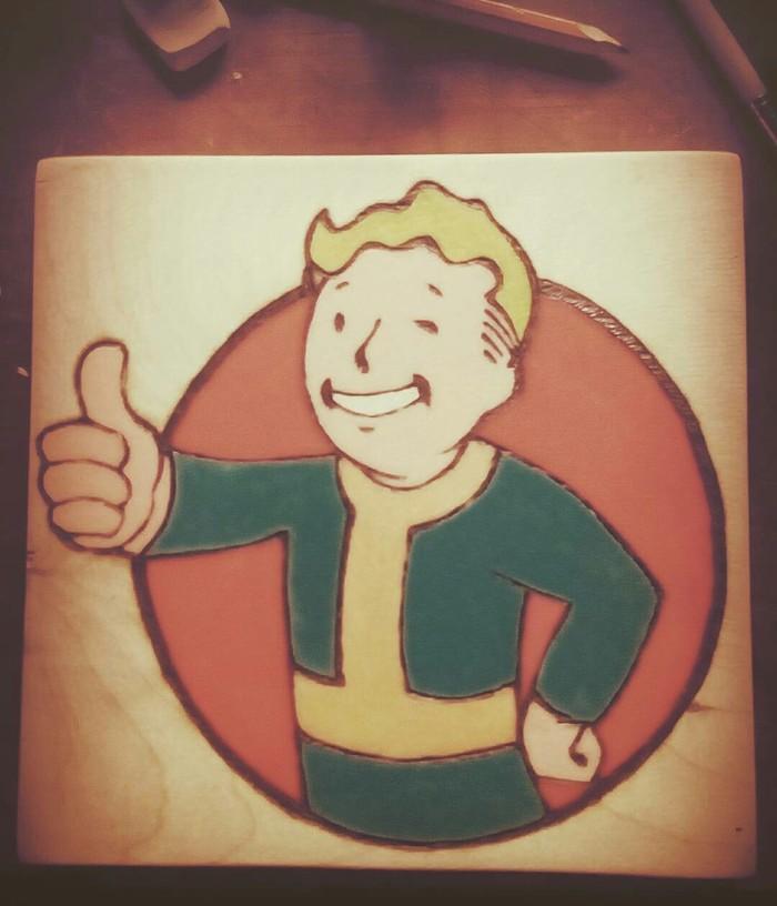 Vault boy Fallout, Vault Boy, Wood, Paint, Работа с деревом, Выжигание, Гуашь, Своими руками