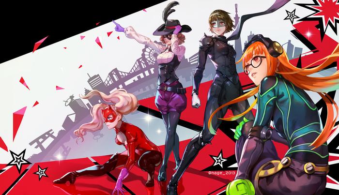Anime Art №1195 Аниме, Anime Art, Persona, Persona 5, Niijima makoto, Okumura haru, Sakura futaba, Ann Takamaki
