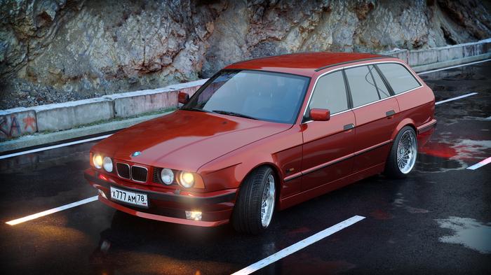 BMW E34 5er Bmw, Bmw e34, 3ds max, Coronarender, Визуализация, Авто, Photoshop, Компьютерная графика, Длиннопост