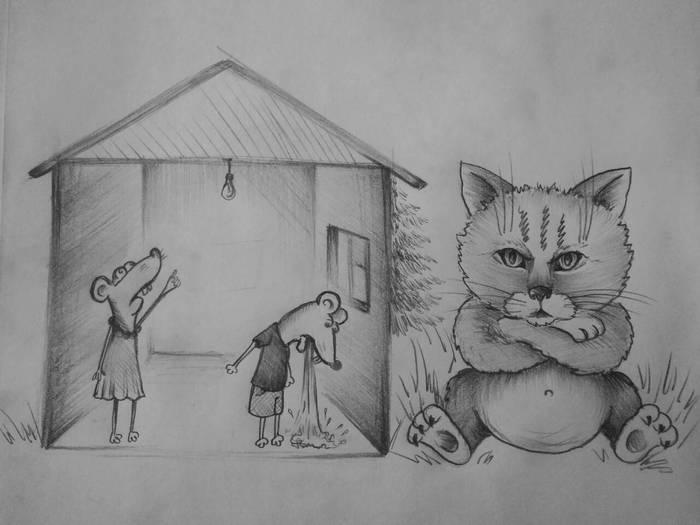 Котобред-3 Кот, Стихотворение без рифмы, Рисунок карандашом, Котобред