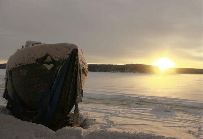 Дожил свой век... Зима, Карелия, Белое море, Корабль, Фотография