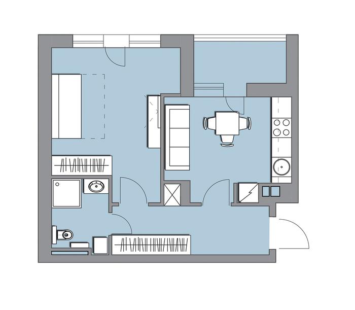 Планировки однокомнатных квартир 40 м.кв. Часть 1 Дизайн интерьера, Планировка, Гармония, Длиннопост