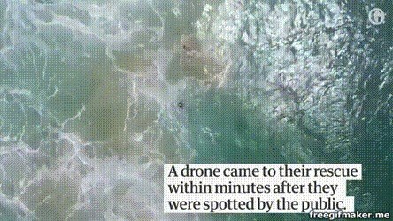 Дрон в Австралии спас первых утопающих Австралия, Квадрокоптер, Спасение, Спасатель, Будущее наступило, Гифка, Видео, Длиннопост
