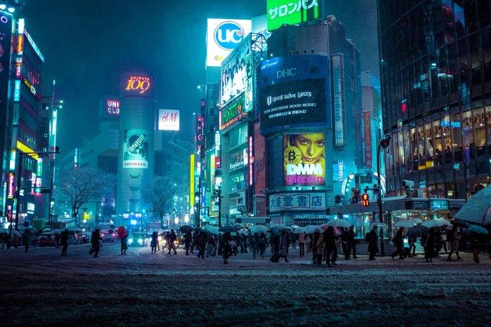 Ещё немного заснеженного Токио Токио, Япония, Снег, Снегопад, Фотография, Неон, Киберпанк, Длиннопост