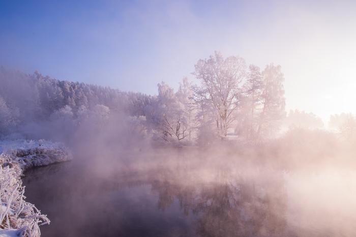Морозный рассвет Минск, Река, Мороз, Фотография, Рассвет, Туман, Моё, Длиннопост