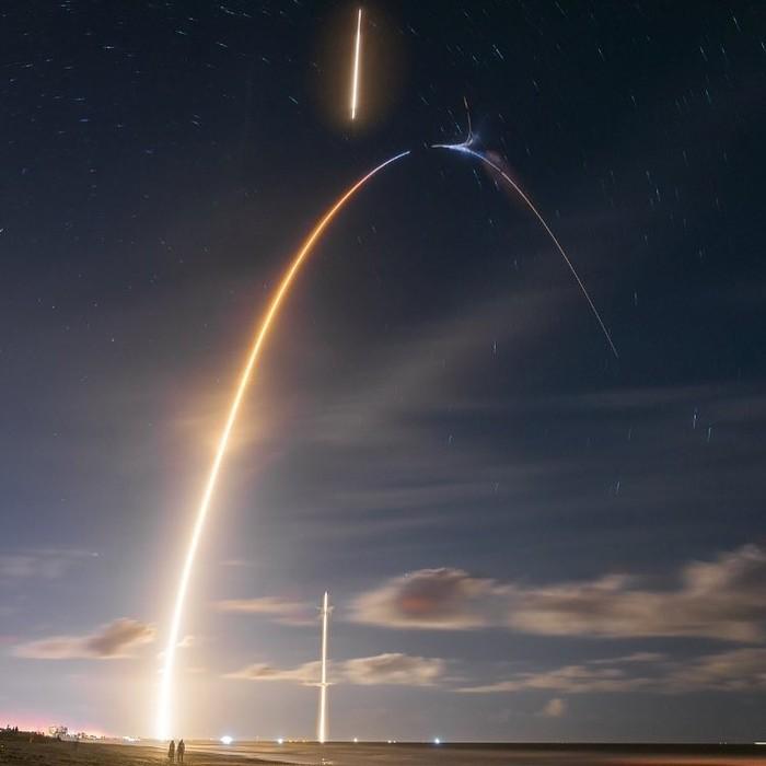 Взлет и посадка ракеты на длинной выдержке Фотография, Илон Маск, Космос, Ракета, Взлет