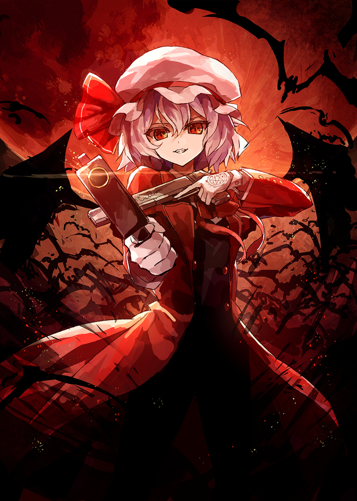 Alucard Scarlet Аниме, Anime Art, Touhou, Crossover, Hellsing, Remilia Scarlet, Алукард