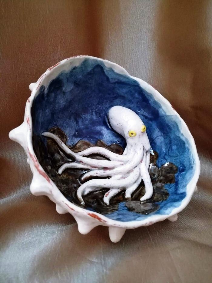 Керамическая чаша с чудо-осьминогом Длиннопост, Рукоделие без процесса, Осьминог, Море, Керамика, Посуда, Своими руками, Ручная работа