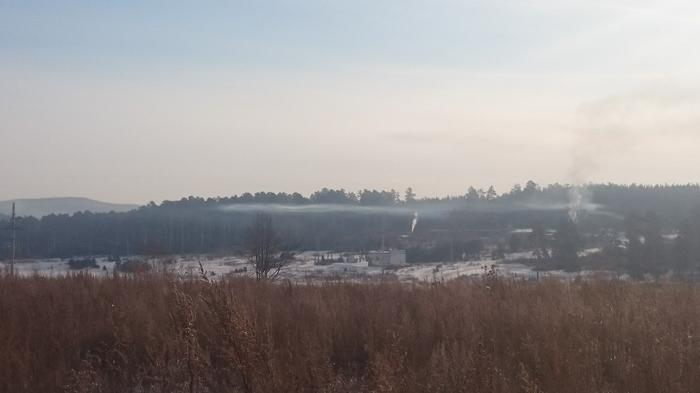 Зимняя деревня Природа, Зима, Дым