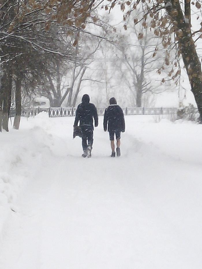 А человек ли он? Снег, Зима, Мороз, Фотография, Шорты, Отчаянный, Неожиданно