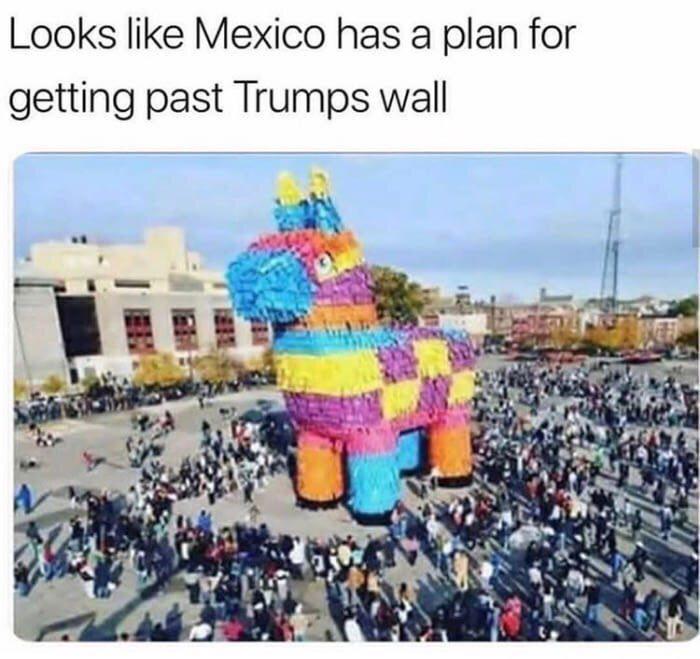 Мексиканская пиньята выглядит так, как будто это план по преодолению стены Трампа.