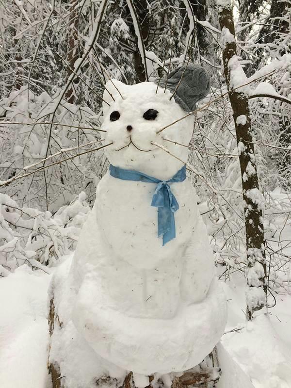 Обнинский кот Кот, Творчество, Снеговик, Зима, Снег, Оригинально, Не мое, Обнинск