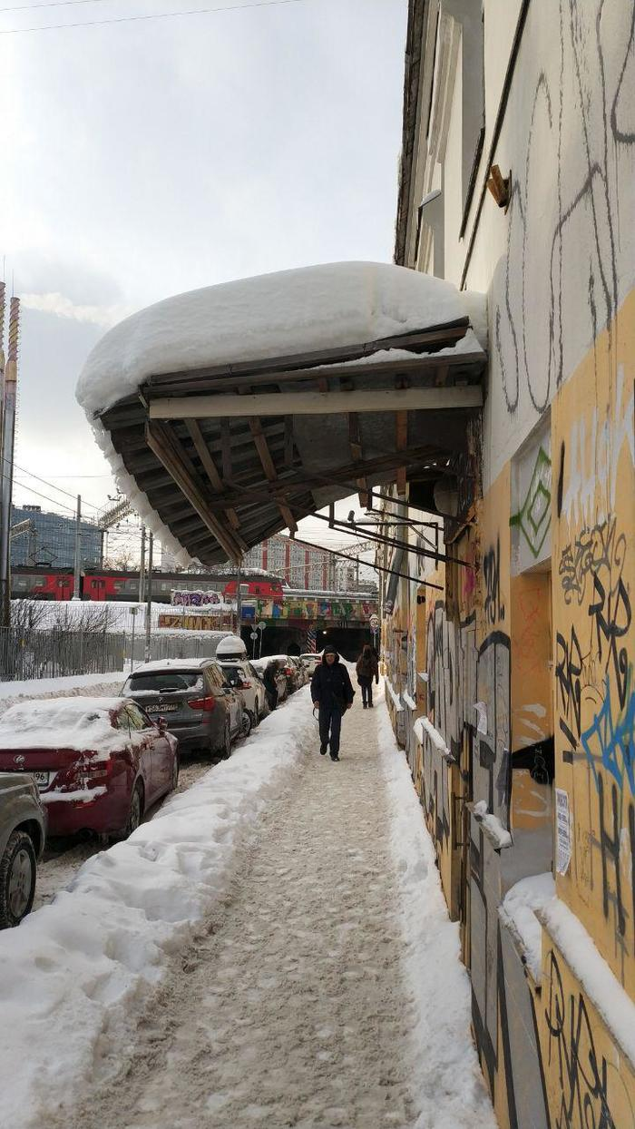 Опасный козырек или как я спасал людей (не спас) снег, козырек, управа, опасность, 112, длиннопост