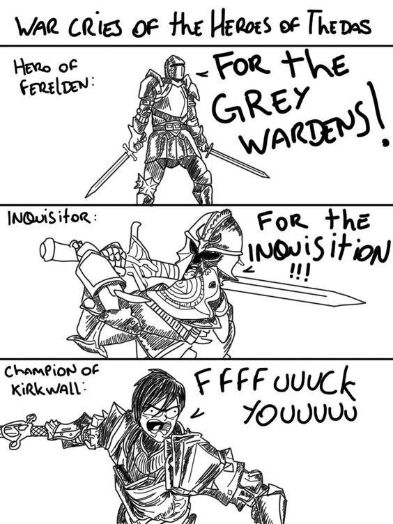 Боевой клич Героев Тедаса. Dragon age, Dragon Age 2, Dragon Age Inquisition, Dragon Age: Origins, Комиксы, Игры, Юмор