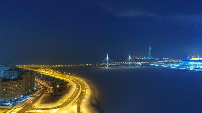 Санкт-Петербург зимой - ночью и днём. Квадрокоптер, Санкт-Петербург, В полёте, Стадион, ЗСД, Всевидящее око