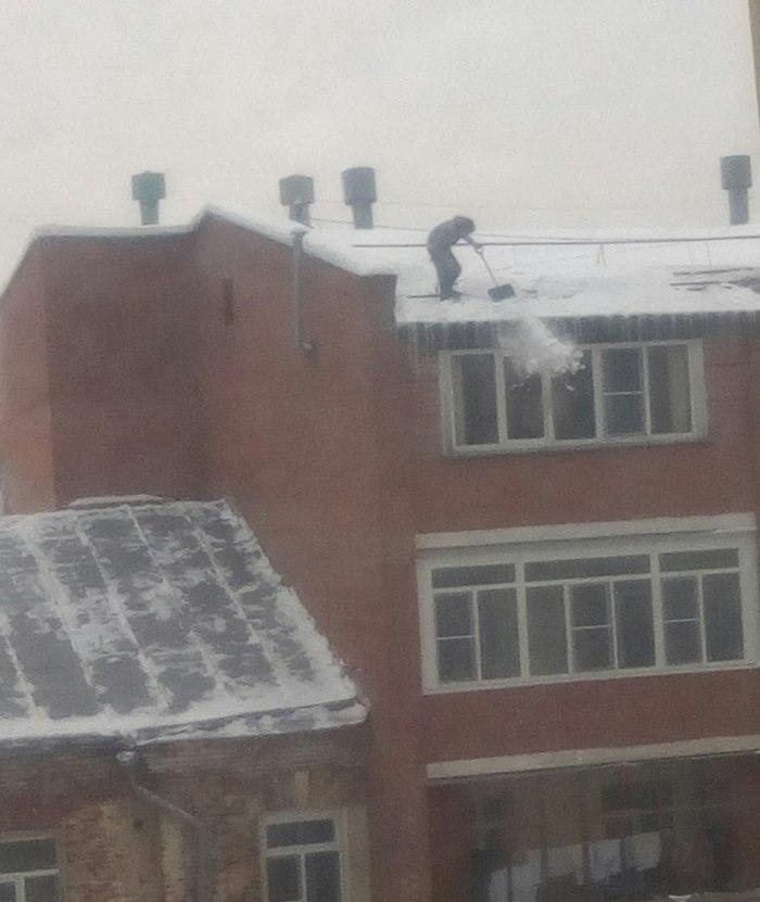 Страховка? Нет, не слышали! Бесстрашие, Снег, Уборка снега, Длиннопост