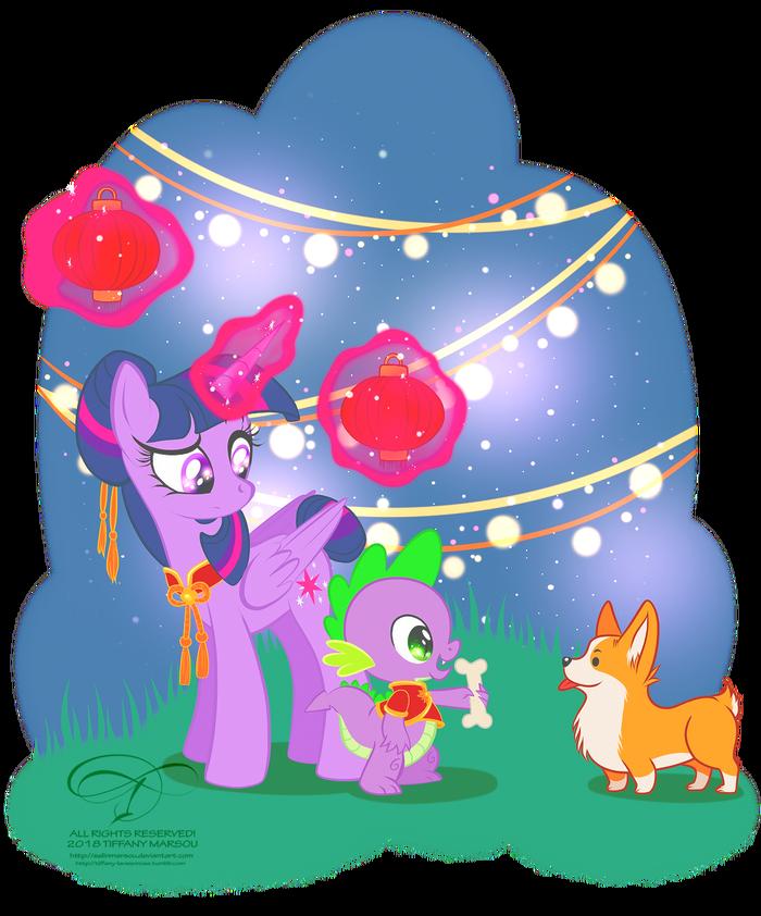 Chinese New Year My little pony, Ponyart, Twilight Sparkle, Spike, Китайский новый год