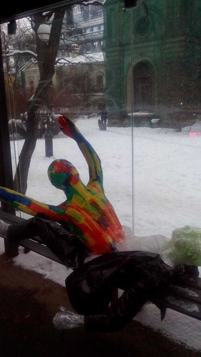 На одной из Питерских остановок. :) Санкт-Петербург, Чужие?, Современное искусство, Длиннопост