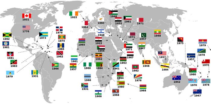 Год обретения независимости от Великобритании на карте Мира.