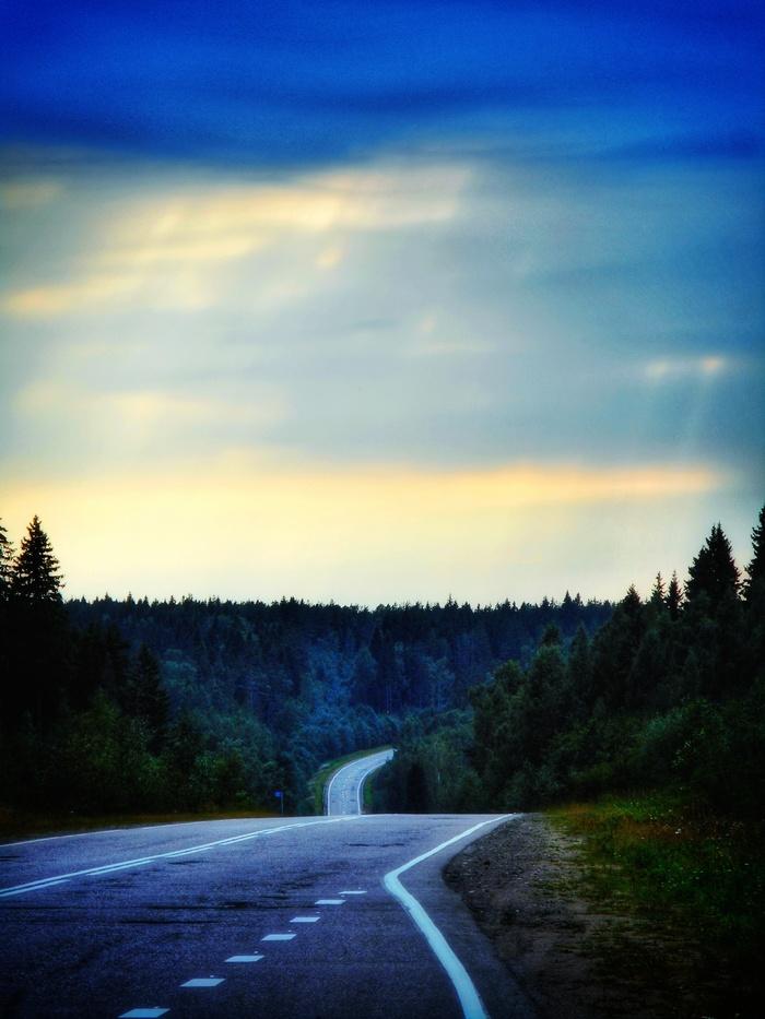 Дорога. Дорога, Небо, Лес, Облака, Моё, Nikon coolpix s3700, Мыльница, Snapseed