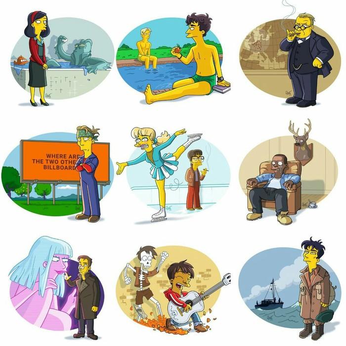 """Арт c главными фильмами 2017-ого года, в стиле """"Симпсонов"""". Фильмы, симпсоны, арт, темные времена, Три билборда, Бегущий по лезвию, Дюнкерк, форма воды"""