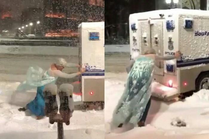 Мужик в костюме Эльзы вытолкал из снега автобус полиции Бостона и стал местной звездой Адвокат, США, Холодное сердце, Эльза, Видео