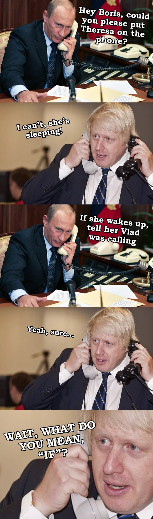 """Что значит """"Если проснется""""? Политика, Юмор, Путин, Борис джонсон, Тереза Мэй, Британцы, 9gag, Длиннопост"""