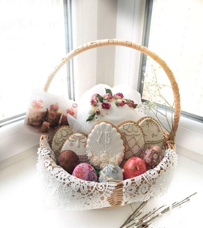 Пасхальная корзина! Кулич, Пасхальный пряник, Пасхальные яйца, Пасха, Пасха подарок, Длиннопост