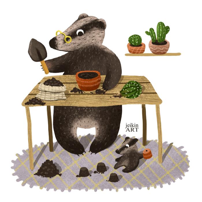 5 работ к челленджу #рисуюанесплю Кактус, Животные, Арт, Иллюстрации, Творчество, Длиннопост