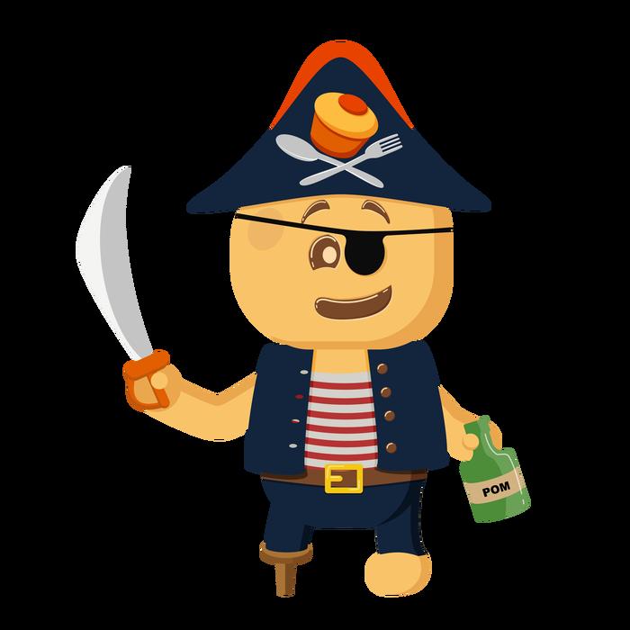 Печенька-пират Печенька, Маскот, Пикабу, Пираты, Иллюстрации