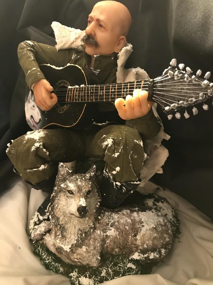 """Композиция """"Одинокий волк"""" (авторская работа 2017г.) Авторская работа, Моё, Портрет, Портрет по фото, Портретная кукла, Волк, Композиция, Оригинальный подарок, Длиннопост"""