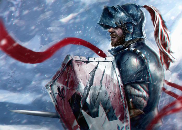 Оживленная версия рыцаря Рисунок, Рыцарь, Зима, Арт, Photoshop, Mordhau