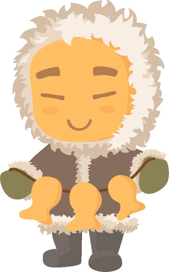 Печенька-эскимос v2 Печенька, Векторная графика, Пикабу, Эскимос, Север, Маскот, Рисунок
