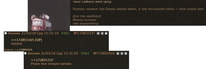 Твое тайное имя Тред, Двач, Скриншот, Имена