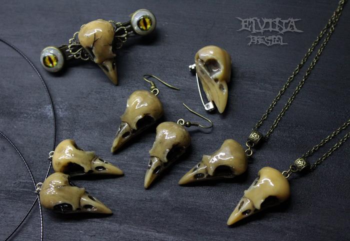 Птичьи черепушки из полимерной глины Полимерная глина, Череп, Птичку жалко, Длиннопост