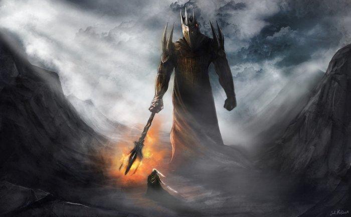 Финголфин VS Моргот Толкин, Сильмариллион, Моргот, Мелькор, Финголфин, Эльфы, Айнур, Длиннопост, Фэнтези