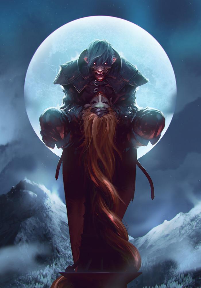 Бестия из Боклера Детлафф, Кровь и вино, The Witcher 3:Wild Hunt, Арт, Рисунок, OmerTunc, Ведьмак, Вампиры