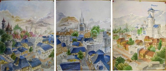 Штормград Акварель, Штормград, Warcraft, Рисунок, Город, Фэнтези, Игры, Библионочь