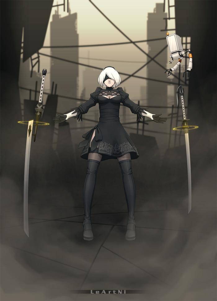 Мои рисунки №6 Anime Art, Nier:Automata, Yorha unit No 2 type b, Alisa Southerncross, Keroro Gunso, Аниме, LeArtNi, Рисунок, Длиннопост