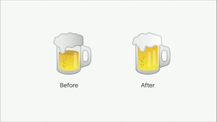 Баг от Гугл Google, Эмодзи, Бургер, Пиво