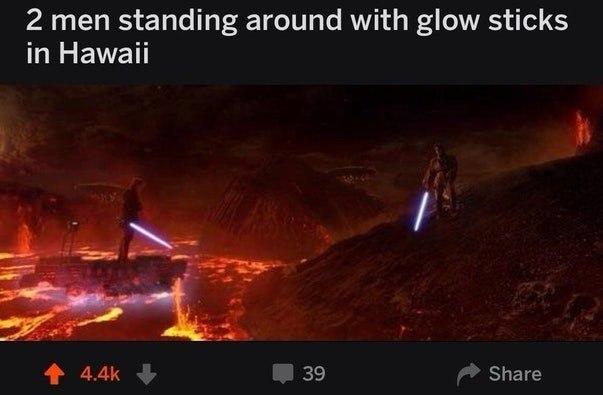 Два чувака со светящимися палками посреди сказочных Гавайев
