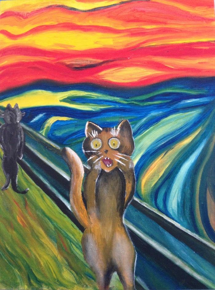 Раннее утро (моя личная версия знаменитой картины) Кот, Утро, Эдвард Мунк, Крик, Моё, Живопись, Картина маслом