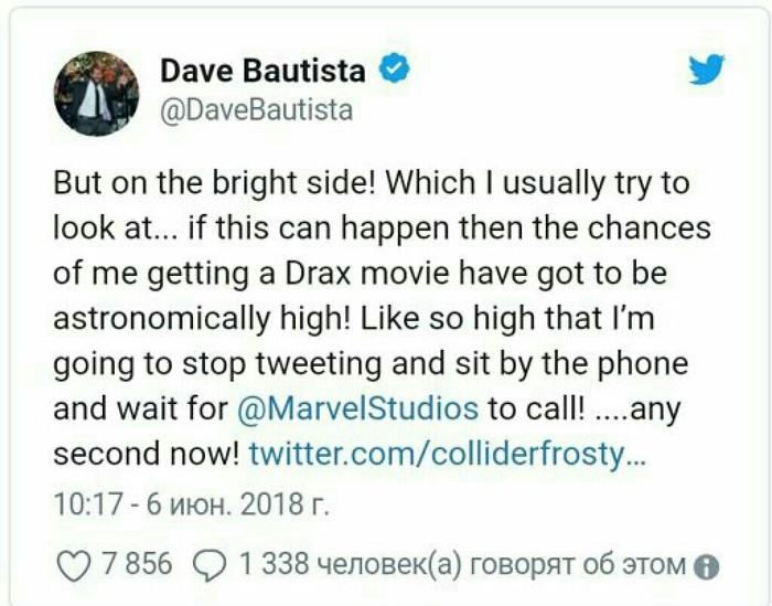 Дэйв Батиста уверен, что раз Джокер получит сольный фильм, то Дракс тем более его заслуживает Marvel, Стражи галактики, Киногерои, Джокер, Джаред Лето, Дэйв батиста
